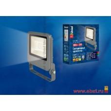 ULF-F17-20W/WW IP65 195-240В SILVER Прожектор светодиодный. Теплый белый свет (3000K). Корпус серебр